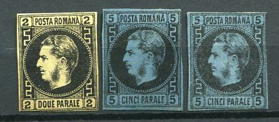 Romania  -   2pa. yellow (1)+ 5 pa.blue (2) , Mint no gum