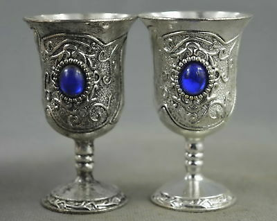 Collection Handmade Old Miao Silver Carve Flower Inlay Aagte Auspicious Wine Cup