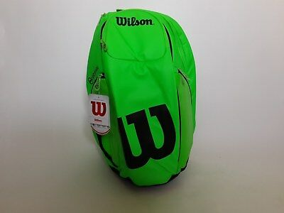 Wilson Burn Backpack Tennis Racquet Racket Bag Green Black WRZ845796 Pockets