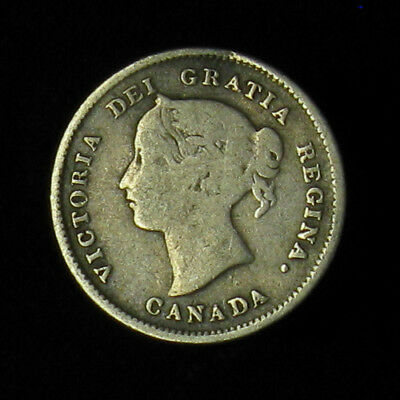 1874-H Canada 5 Cents silver coin large date