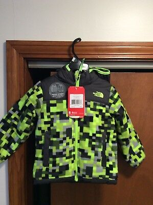 Boys Toddler The North Face Reversible Green Pixel Coat Jacket Size 3T