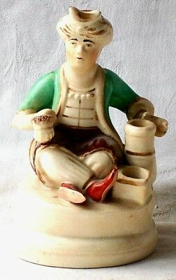 C19Th Staffordshire Creamware Quill Holder Figure Of A Seated Turk With A Pipe