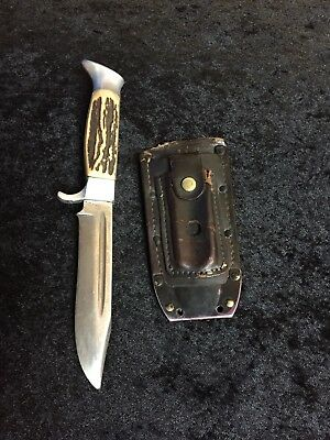 """Vintage Othello Soligen Germany Stag Handle Hunting Knife 9"""" w/ Leather Sheath"""