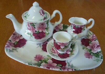Florence Collectables Rose Miniature Tea Set with Tray - Bone China