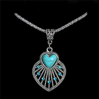 New Womens Tibetan Silver Heart Shell Turquoise Necklace Pendant Jewellery Gift