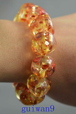 Collectible Decoration Amber Carve Gloosy Flower Bead Figurines Lucky Bracelet