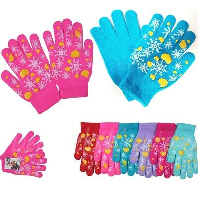 6, 12 Women's Girl Snowflake Warm Knit Knitted Magic Winter Gloves Stretch Lots