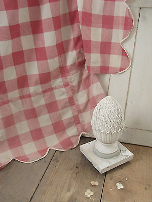 Antique French Vichy check fabric rose bed cover w ./ valances cotton check