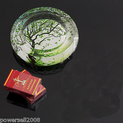 "Fashion Polyhedral Shiny Crystal Glass Household Hotel Use Ashtray""Green Tree"""
