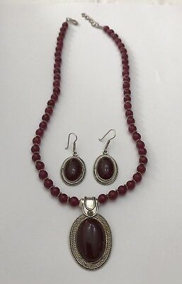 Vintage Artisan Sterling Silver Red Stone Necklace & Earrings Set Signed