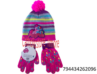 8625005f31b0d Hasbro My Little Pony Girls Winter Beanie Knit Hat and Gloves Set-2096