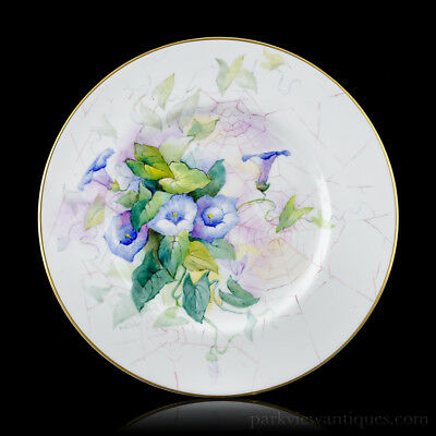 """Rare Royal Worcester Artist Kitty Blake 10.5"""" Trial Plate Flowers and Spider Web"""