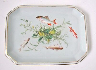 Beautifully Decorated c.1865 Antique FISH PLATE Reg.Mark # Great Detail