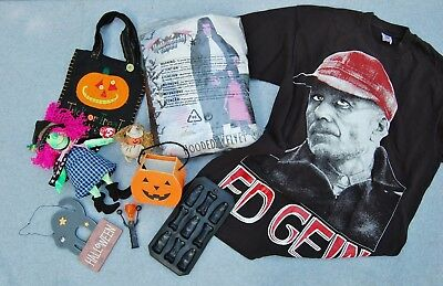 Halloween Lot 9 Horror T-shirt Cape Candy Container Noise Maker Ty Beanie Witch
