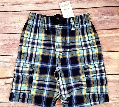 Nwt Gymboree boys size 18-24 months yellow blue plaid Cargo shorts Pull on new