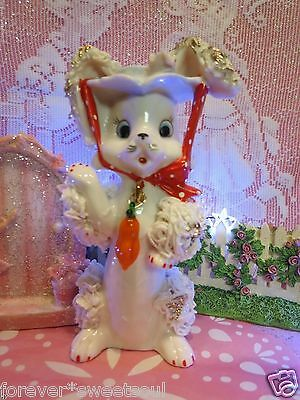 Vtg Easter Bunny Rabbit W Pink Rose Hat W Polka Dotted Bow Tie Carrot Charm