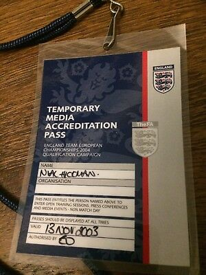 England Team Euro 2004 Qualification Media Accreditation Pass