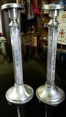 Pair antique Moreware Plate candlesticks