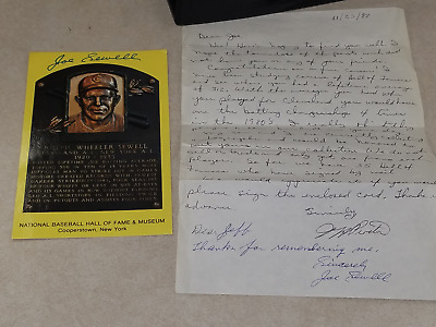 Joe Sewell auto signed hof plaque card w/ signed letter Indians / Yankees