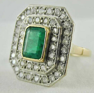 Vintage 18Ct Gold Emerald Diamond Cluster Statement Ring Size O 1.83Cts
