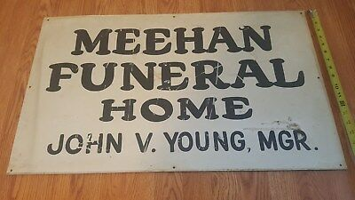 """Vintage 2-Sided Metal Funeral Home Sign 18"""" x31"""""""