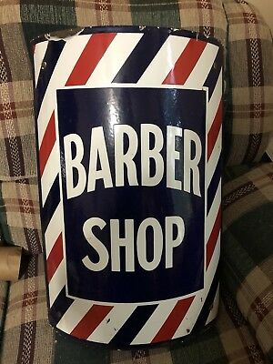 Vintage Barber Shop Curved Porcelain Sign