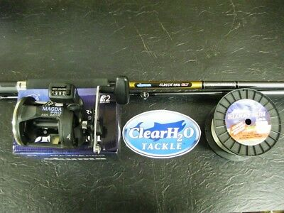 Okuma Glt 8'6 2Pc Copper Rod Cp-Cl-862M W/ Okuma Magda Ma-45Dx 200' 32# Bloodrun