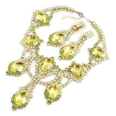 Stunning Czech Yellow Jonquil Couture Rhinestone & Glass Necklace set
