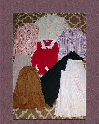 9 Lovely Vintage Women's Clothing Lot Plus Size 3 Blouses 1 Blazer 5 Skirts VGC
