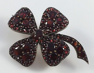Antique Victorian Red Garnet Natural Stone Four Leaf Clover Good Luck Pin Brooch