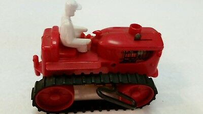 Vintage Marx Toy Windup Red Plastic Tractor with Driver Circa 1950's