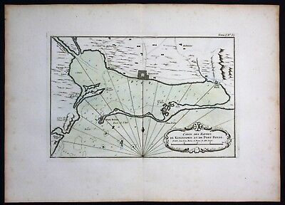 1764 - Jamaica Kingston Portmore plan Bellin handcolored antique map