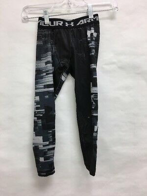 Used UNDER ARMOUR BOYS ColdGear Up Printed leggings Black/White/Navy Sz: XS (BL)