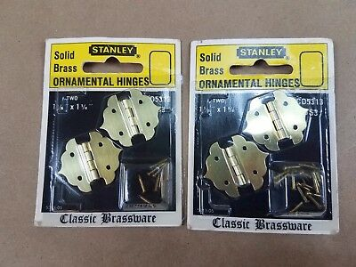 "Stanley NOS Ornamental Hinges Classic Brass Lot of 2  1 1/8"" x 1 1/4"" FREE SHIP"