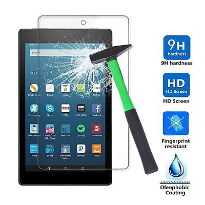 """Tempered Glass Screen Protector for Amazon Fire HD 8"""" Tablet (7th Gen 2017 Rel)"""