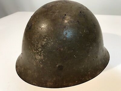 WWII Green Military Steel Helmet With Leather Lining Unknown Origin