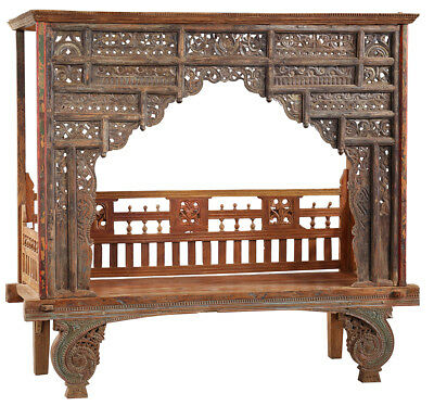 Antique Hand Carved Wood Wedding Javanese Day Bed/Bench,79''X 76''H