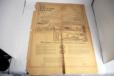 Extremely Rare Indiana, Columbus & Eastern Traction Co. Poster ca. 1915 - 1926