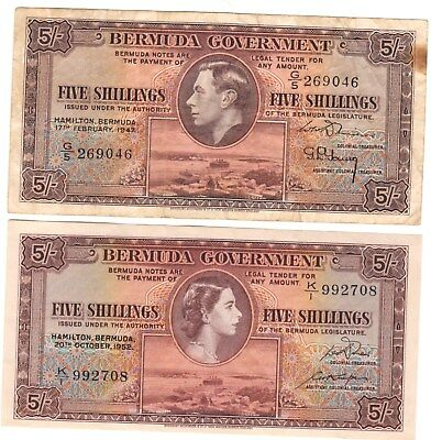 Two Bermuda Five Shilling Notes 1947 And 1952 / Look !!!!!