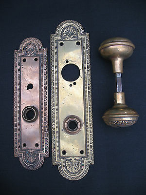 Antique Brass Door Knob and Faceplate Backplate Art Nouveau