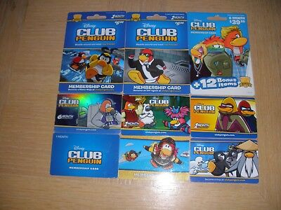 Disney Club Penguin   9 different new collectible gift cards