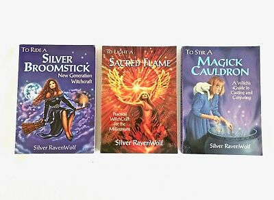 Silver RavenWolf SIGNED Books  Silver Broomstick, Sacred Flame, Magick Cauldron