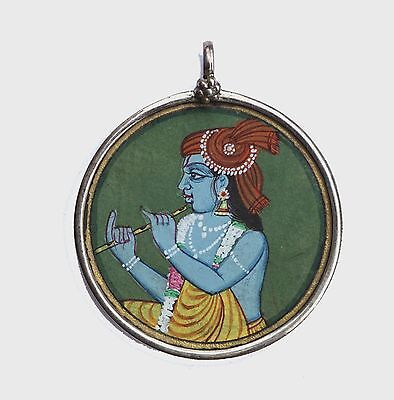 Lovely sterling silver Pendant 100% handcrafted LORD KRISHNA Miniature Painting