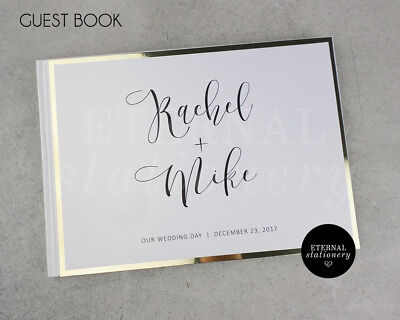 Personalised Wedding Guest Book - Hardcover (Rachel), gold foil board