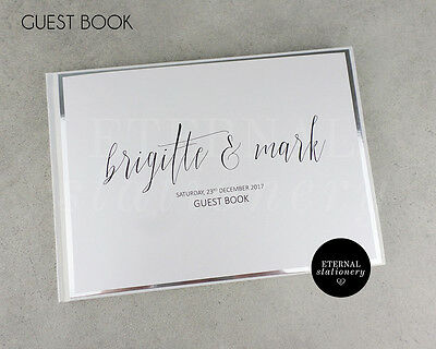 Personalised Wedding Guest Book - Hardcover (Brigitte), silver foil board