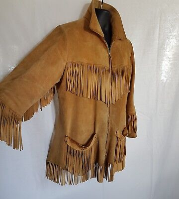 Women's Med Buckskin Fringed Leather Jacket Western Boho Hippie Lined Zip Coat