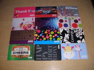 U K ASDA  12 different new collectible gift cards
