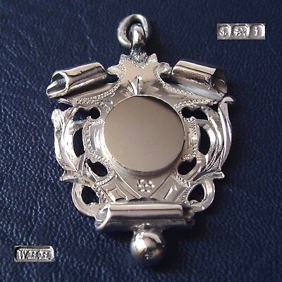 1908 Antique Edwardian solid silver fob medal for a pocket watch chain. Pendant.