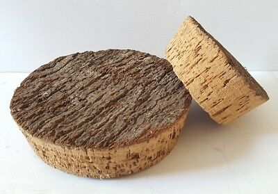 Two Old Large Round Cork Bottle Jar Stoppers With Bark Unusual