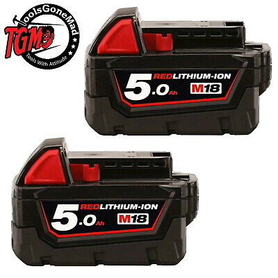 2x Genuine AU Model Milwaukee M18B5 18V 5.0Ah Lithium-Ion Battery Not USA Import